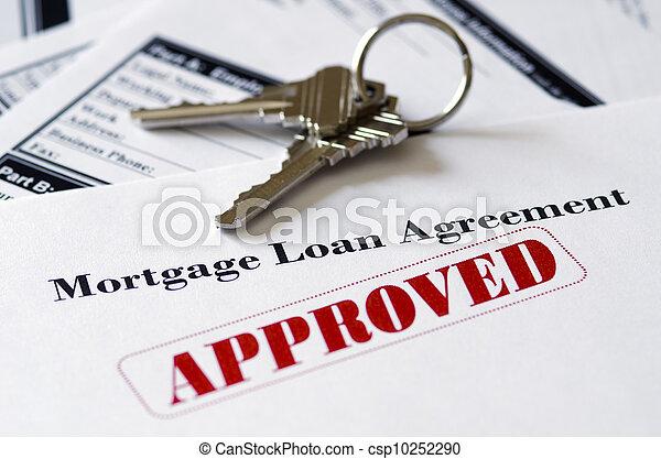 ingatlan tulajdon, betáblázás kölcsönad, dokumentum, jóváhagyott - csp10252290