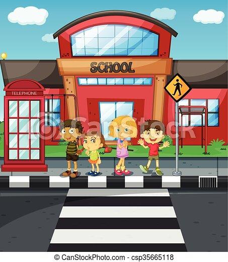 iskola ugrat, kereszt, várakozás, elülső, út - csp35665118