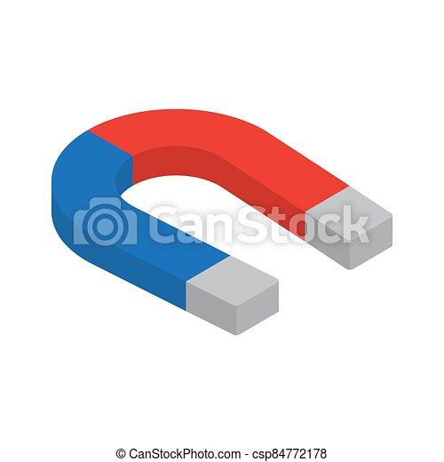 isometric, mágnes, ikon, elszigetelt, fehér, háttér. - csp84772178