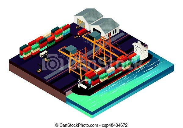 isometric, tervezés, rév, hajózás - csp48434672