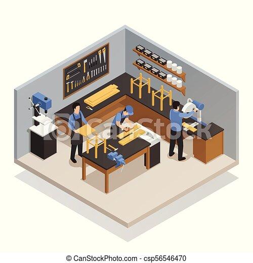 isometric, zenemű, kézműves, emberek - csp56546470