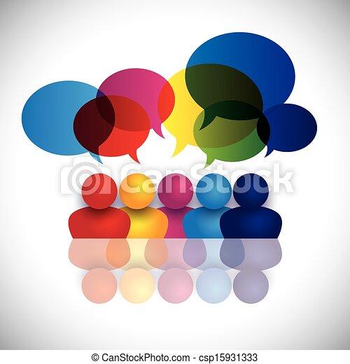 izbogis, fogalom, hivatal, gyerekek, beszéd, vektor, gyűlés, vagy, bot - csp15931333