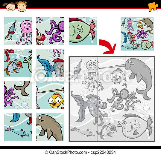 játék, lombfűrész, állatok, rejtvény, karikatúra - csp22243234