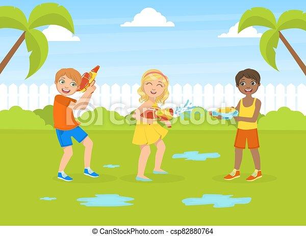 játék, víz, szabadban, ábra, fegyverek, móka, csinos, boldog, gyerekek, nyár, vektor, birtoklás, leány, fiú, szünidő - csp82880764