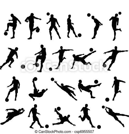 játékos, körvonal, futball foci - csp6955507