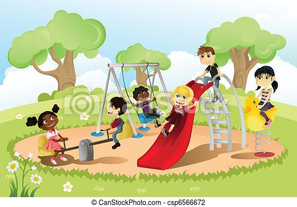 játszótér, gyerekek - csp6566672