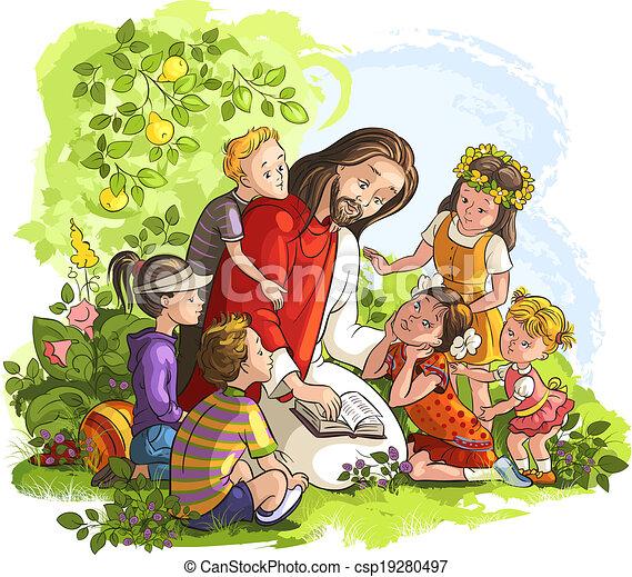 jézus, gyerekek, felolvasás, biblia - csp19280497