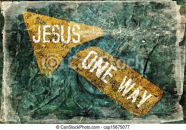 jézus, irány, egy - csp15675077