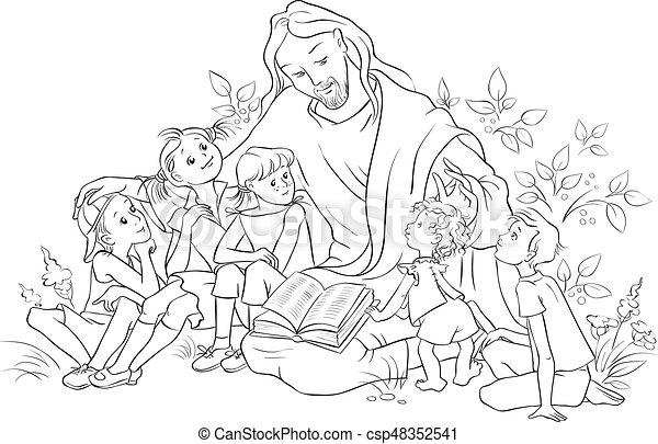 jézus, oldal, biblia, színezés, felolvasás, gyerekek - csp48352541
