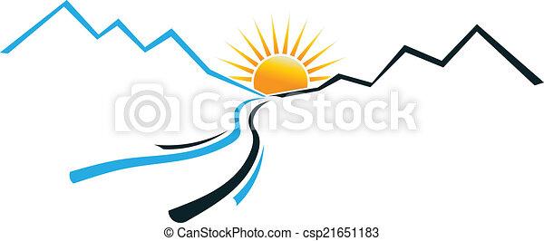 jel, folyó, hegy, nap - csp21651183