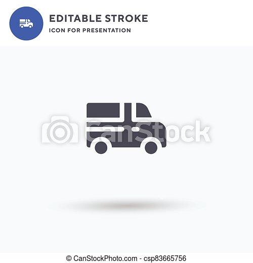 jel, tehervagon, lakás, megtöltött, illustration., ikon, aláír, szilárd, fehér, pictogram, elszigetelt, presentation., vektor - csp83665756