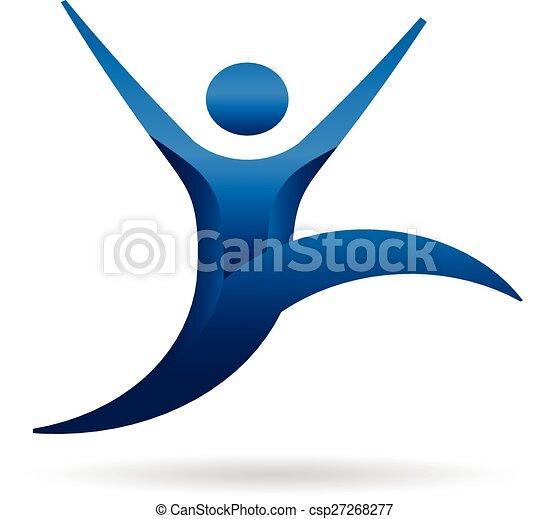 jel, ugrás, emberek, állóképesség - csp27268277