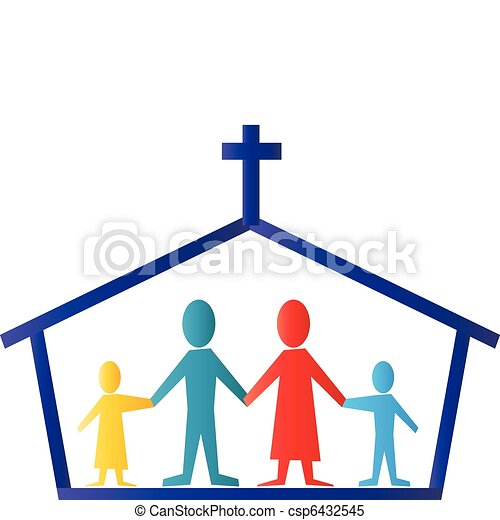 jel, vektor, család, templom - csp6432545