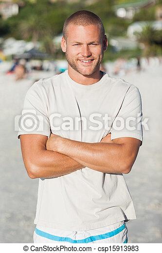 jelentékeny, feltevő, tshrt, ember, női fürdőruha, boldog - csp15913983