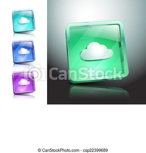 jelkép, ábra, aláír, vektor, felhő, ikon - csp22399689