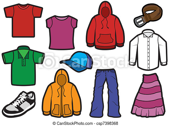 jelkép, öltözet, feltűnő, set. - csp7398368