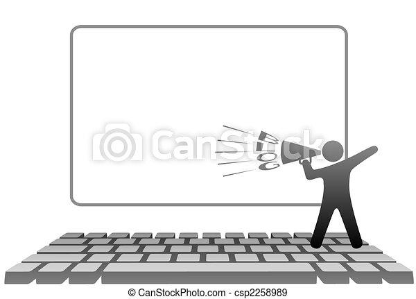 jelkép, computer billentyűzet, hangszóró, blogs, ember - csp2258989