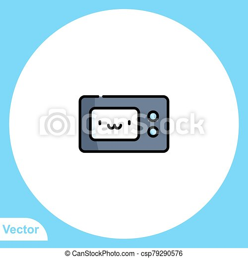 jelkép, ikon, aláír, mikrohullám, lakás, vektor - csp79290576