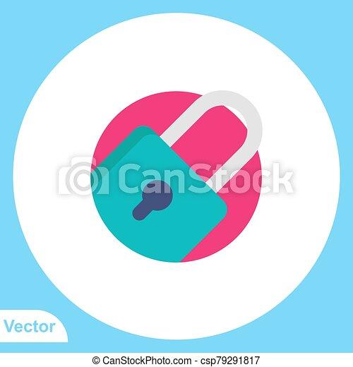jelkép, ikon, lakat, aláír, lakás, vektor - csp79291817