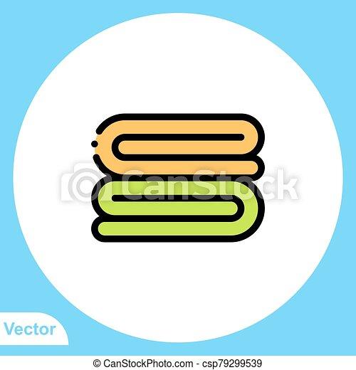 jelkép, ikon, törülköző, aláír, lakás, vektor - csp79299539