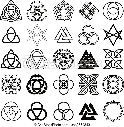 jelkép, ikonok, állhatatos, vector., tetovál - csp3680843