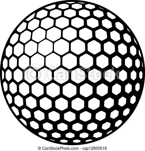 jelkép, vektor, golf labda - csp12600518