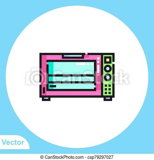 jelkép, vektor, ikon, aláír, lakás, mikrohullám - csp79297027