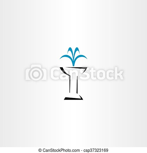 jelkép, vektor, szökőkút, ikon - csp37323169