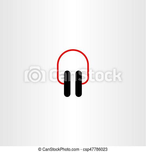 jelkép, vektor, tervezés, fülhallgató, ikon - csp47786023