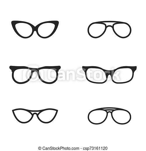 jelkép, vektor, tervezés, szemüveg, ikon - csp73161120