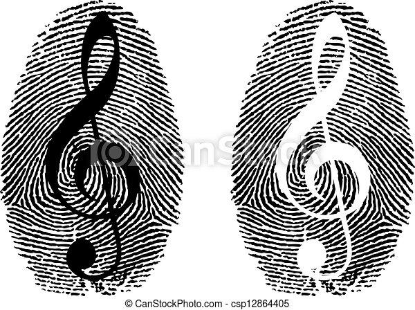jelkép, zene, ujjlenyomat - csp12864405