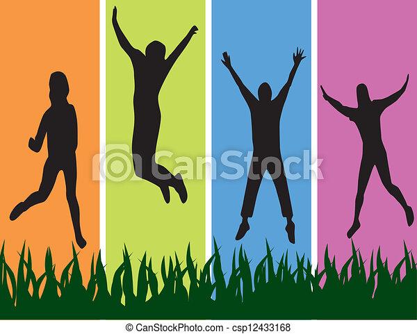 jumpping., young emberek - csp12433168