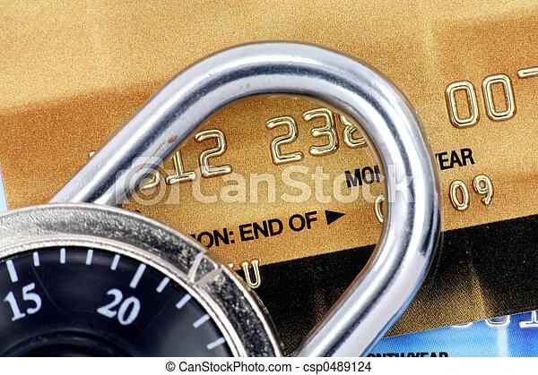 kártya, becsuk, zár, hitel, feláll - csp0489124