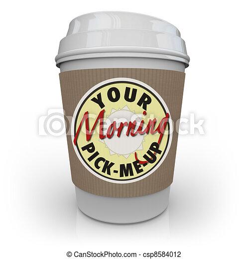 kávécserje, reggel, -e, pick-me-up, csésze - csp8584012