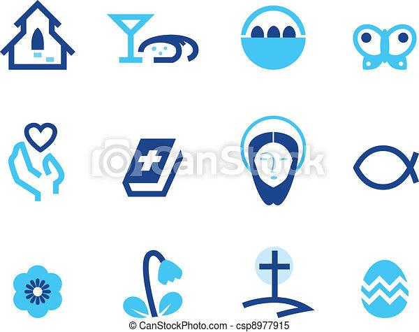 kék, állhatatos, ), (, elszigetelt, kereszténység, fehér, húsvét, ikon - csp8977915