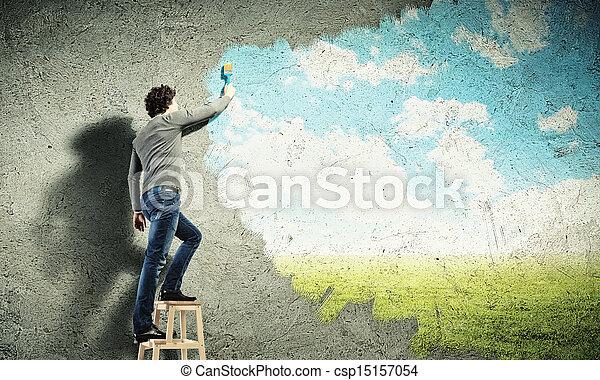 kék ég, fiatal, felhős, rajz, ember - csp15157054