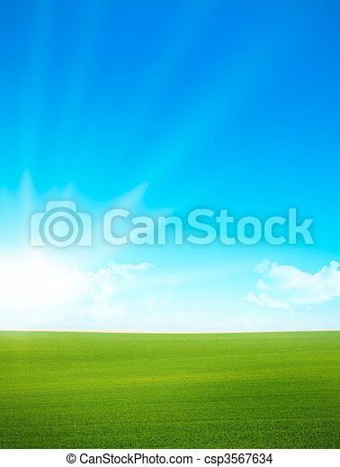kék ég, -, zöld terep, táj - csp3567634
