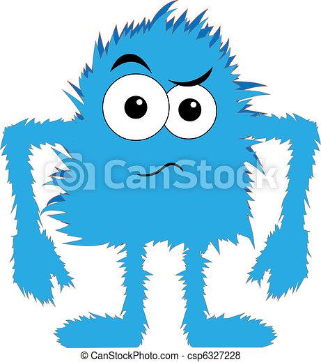 kék, bolyhos, felborít, szörny, arc - csp6327228