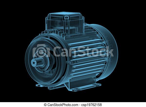 kék, elektromos, internals, elszigetelt, fekete, motor, áttetsző, röntgen - csp19762158