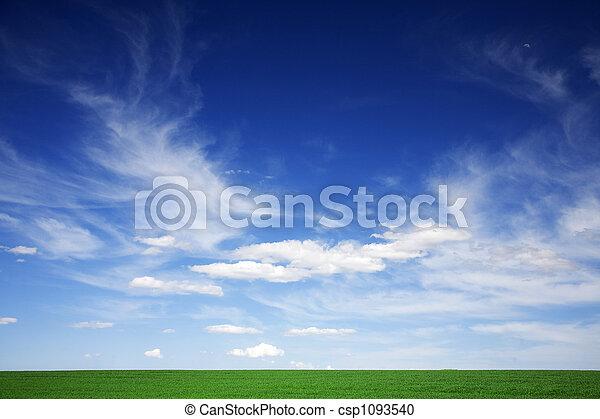 kék, elhomályosul, eredet, zöld terep, fehér, ég - csp1093540
