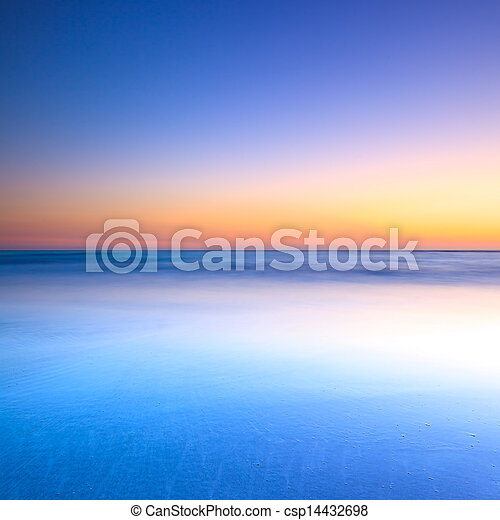 kék, félhomály, óceán, napnyugta, white tengerpart - csp14432698