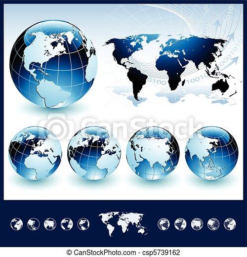 kék, földgolyó, világ térkép - csp5739162