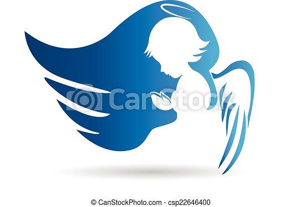 kék, jel, angyal - csp22646400