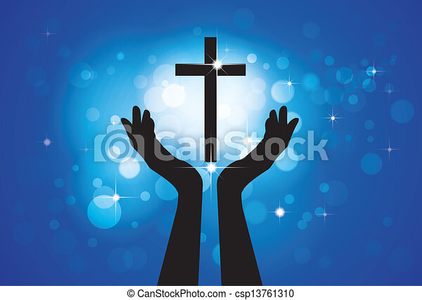 kék, karikák, fogalom, keresztény, hűséges, jámbor, jézus, -, kereszt, háttér, fiú, személy, grafikus, vektor, buzgó, csillaggal díszít, imádkozás, méltóság, vagy, lord(christ) - csp13761310