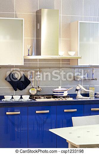 kék, konyha - csp1233198