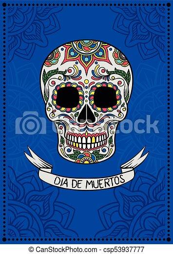 kék, mexikói, elektromos, poszter, ellen-, köszönés, motívum, cukor, dia, vektor, tervezés, ábra, háttér, koponya, virágos, elem, muertos, kártya - csp53937777
