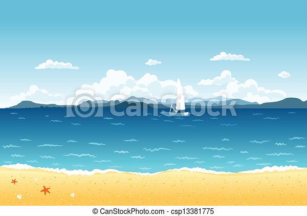 kék, nyár, vitorlázás, hegyek, táj, tenger, csónakázik, horizon. - csp13381775