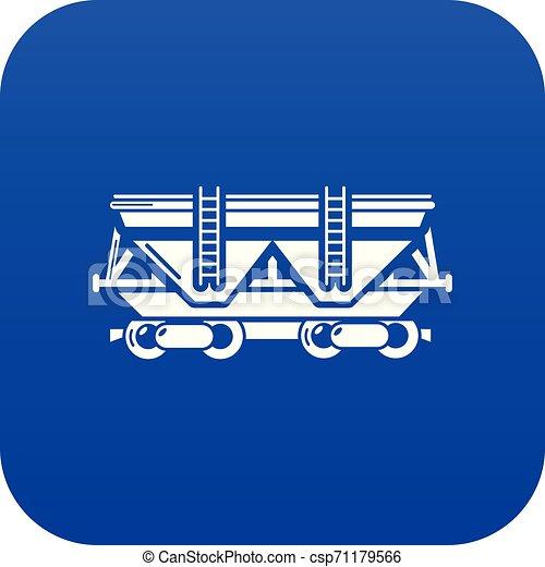 kék, tehervagon, vektor, ikon - csp71179566