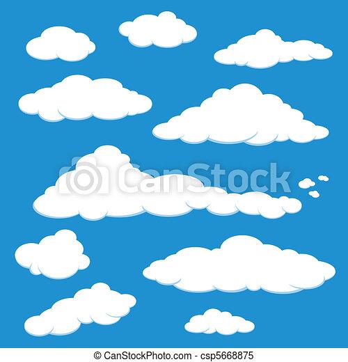 kék, vektor, ég felhő - csp5668875