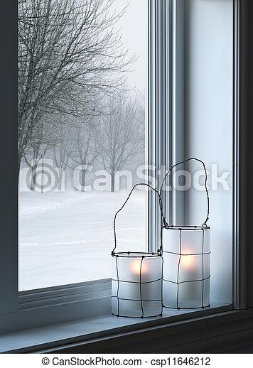 kényelmes, ablak, világító, át, látott, táj, tél - csp11646212
